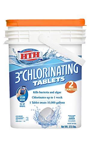 HTH 42030 3-inch Tablets Swimming Pool Chlorine, 37.5 lbs, Regular