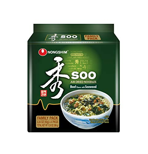 Nongshim Soo Air Dried Noodle Soup, Beef With Seaweed, 3.24 Ounce x 4 Packages (Pack Of 8)