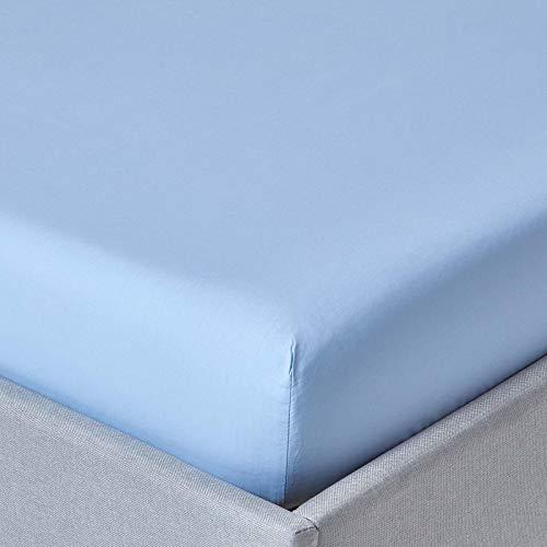 Homescapes Drap Housse Uni couleur Bleu pour 1-2 Personnes de 120 x 190 cm - Percale - 100% Coton d'Égypte200 Fils (80 fils/cm²...