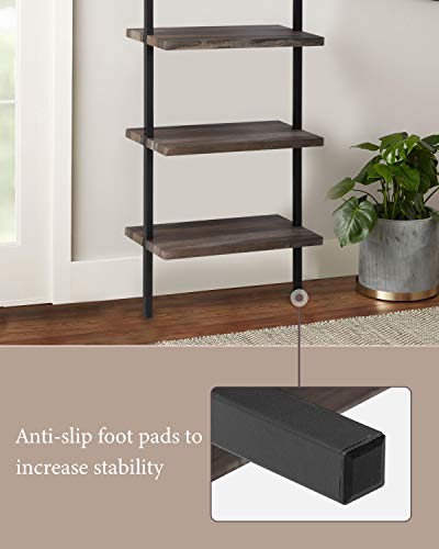 Bookshelf 5-Tier Wall Mount Ladder Storage Industrial Bookcase Shelf Modern Wood Book Shelf Unit with Metal Frame for Home Office Living Room