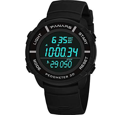 MNBVC Reloj Digital para Hombre, Multifuncional, Deportivo, Militar, electrónico, de Pulsera, para Correr, Nadar, Impermeable, con podómetro 3D, Calendario perpetuo, cronómetro, cronómetro,