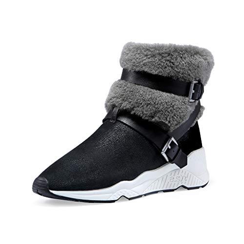 ZHJ Otoño de Las Mujeres los Zapatos y los Modelos de Invierno de la Piel una Incrementar Casual Deportes de Nieve Botas Botas de Las Mujeres Botas (Color : Black, Size : 38)