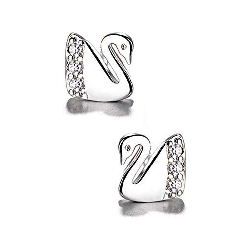 Placcato in argento Sterling 925, zirconia cubica AAA 3D Swan fascino Stud post orecchini