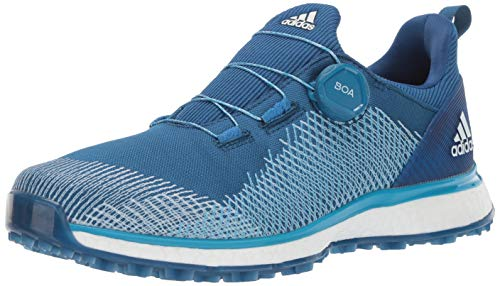 adidas Men's FORGEFIBER BOA Golf Shoe dark marine/shock cyan/ftwr white 10.5 M/W US