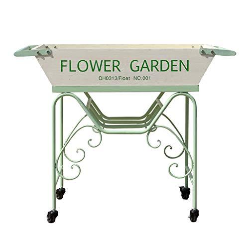 Jardinières Présentoir De Fleurs En Fer Forgé Avec Une Roue Support De Plante Au Sol Support Extérieur Simple Porte-fleurs Vert Rack de fleur