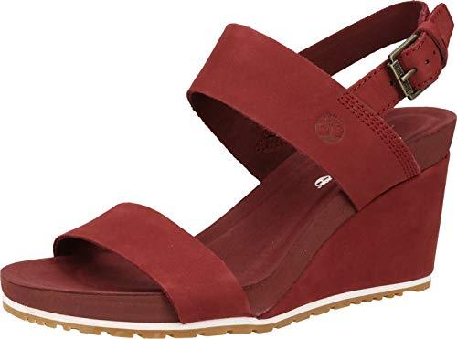 Timberland Capri Sunset Wedge Sandali Donne Bordeaux - 39 - Sandali Shoes
