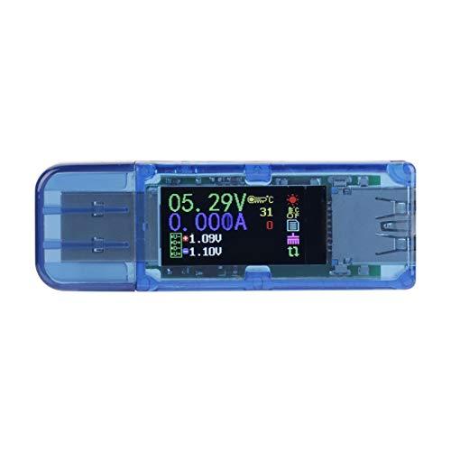 Probador USB, AT34 USB 3.0 Color LCD Voltímetro Amperímetro Medidor de corriente Multímetro Cargador Probador USB