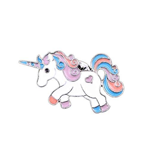 Broche Caballo Unicornio del Arco Iris del Brillo del Esmalte Pin de Solapa para Las Mujeres...