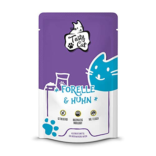 Tasty Cat Nassfutter für Katzen Forelle & Huhn 12 x 125g. | getreidefrei | zuckerfrei