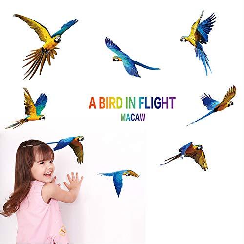 Cczxfcc Kleurrijke papegaai Vogels Muursticker Ara Magpie Decoratie Muurtattoos voor kinderkamer Slaapkamer Droom Vliegen Sticker Dieren Giften