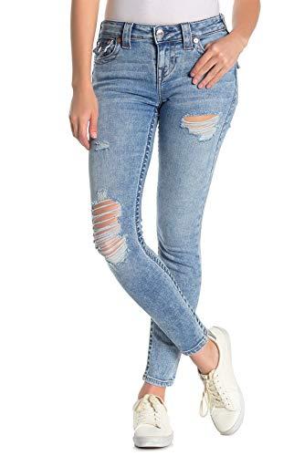 True Religion Women's Halle Mid Rise Skinny Leg fit Jean with Destruction, True Duchess W/Destroy, 23