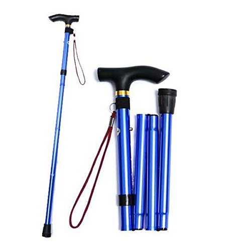 Healifty Travel Trekking Collapsible Cane Anti-Rutsch verstellbarer Gehstock (Blau)
