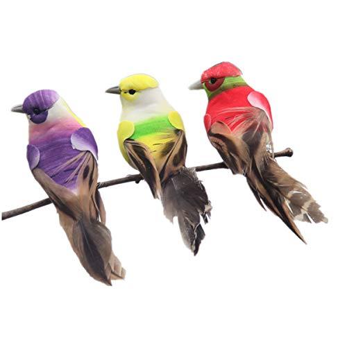 BESPORTBLE 3 stücke Künstliche Gefiederte Vögel Lebensechte Bunte Vogel Desktop Ornamente Dekorationen Foto Requisiten für Landschaft Hausgarten (Zufällige Farbe)