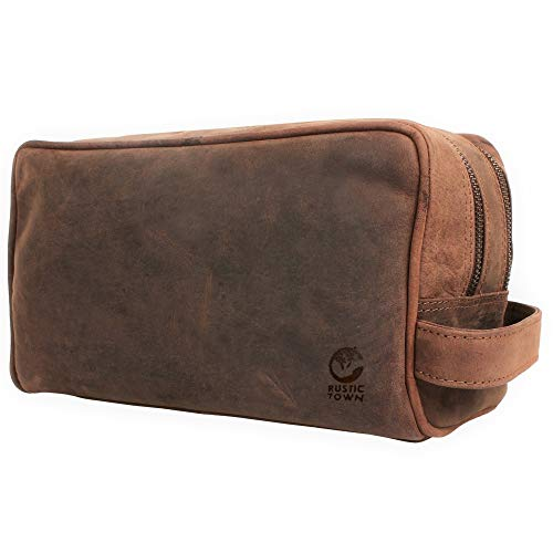 Rustic Town kulturtasche kulturbeutel Leder | Leather Toiletry Bag wash Bag | Leder Kosmetiktasche Waschtasche Reise-Tasche für Herren und Damen (Dunkelbraun)