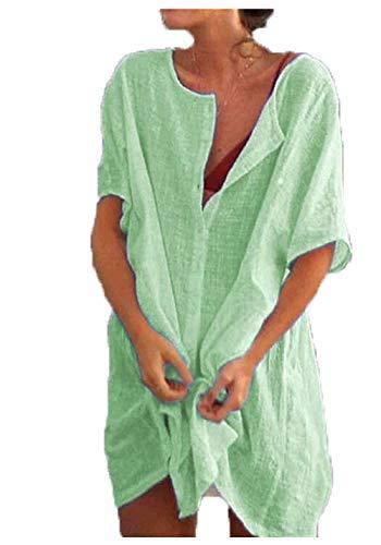 JIER Damen Kurzarm Blusenkleid Hemdbluse Einfarbig Lässige Lose Bluse Shirt Tunika Tops T-Shirt Große Größen Strandkleid T Shirts Oberteile (Grün,XXX-Large)