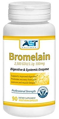 Bromelain 550mg (90 vegan caps) - 2,500 GDU/1.1g Supports Digestion & Joint Health
