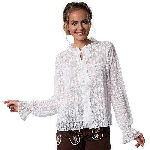 dressforfun 900638 Elegante Spitzen Trachtenbluse, Tüll Einsatz, Langarm, weiß - Diverse Größen - (XL | Nr. 303203)