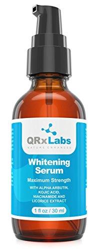 Skin Whitening Serum with 2% Alpha Arbutin, Kojic Acid & Licorice Root Extract – Maximum Strength Brightening for Face, Neck & Body – Dark Spots, Hyperpigmentation, Melasma and Sun Damage - 1 fl oz