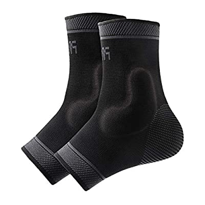 Protle Foot Socks Ankle Brace Compression Support Sleeve with Silicone Gel - Boosts Recovery from Joint Pain, Sprain, Plantar Fasciitis, Heel Spur, Achilles tendonitis (Small, Pair-Black)