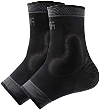Protle Foot Socks Ankle Brace Compression Support Sleeve with Silicone Gel - Boosts Recovery from Joint Pain, Sprain, Plantar Fasciitis, Heel Spur, Achilles tendonitis (Large, Pair-Black)