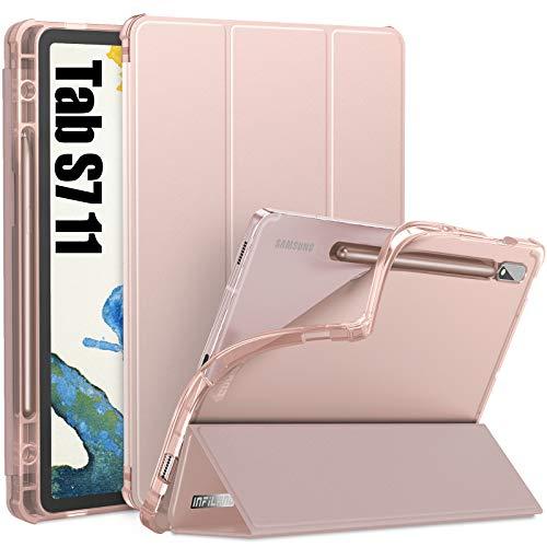 INFILAND Funda Case para Samsung Galaxy Tab S7 11(SM-T870/T875) 2020, Estuche Carcasa TPU Translúcida para S Pen,Smart Book Cover con Auto Reposo/Activación para Samsung Tab S7 11,Rosa Dorado
