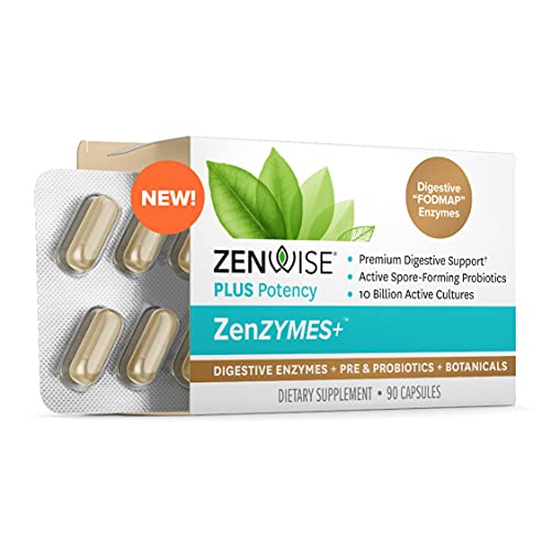 Zenwise Ultimate Enzymes, Probiotics & Prebiotics - Best Daily Digestive, Immune & Flora Support for Men & Women - Enzyme Blend & Botanicals + Clinically Studied Probiotic for Gut Health - 90 Capsules