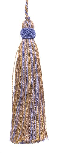 Set of 10 Decorative Lavender Blue, Taupe 10cm Tassel, Imperial II Collection Style# ITS Color: PERIWINKLE GOLD - 5080