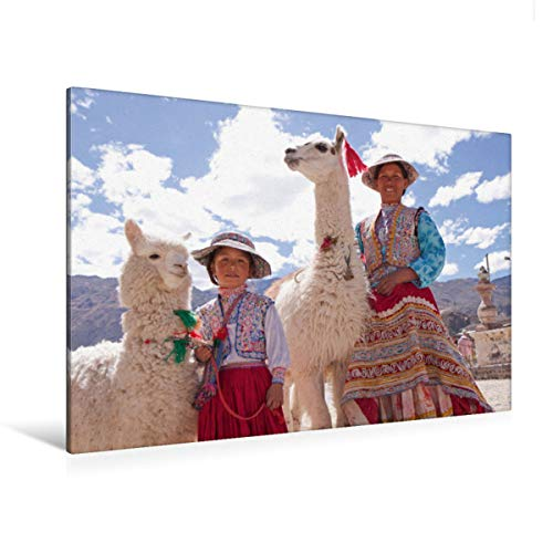 CALVENDO Premium Textil-Leinwand 120 cm x 80 cm quer Frau und Mädchen mit Lama und Alpaka | Wandbild, Bild auf Keilrahmen, Fertigbild auf echter Leinwand. Maca, Colca Canyon, Peru Orte Orte