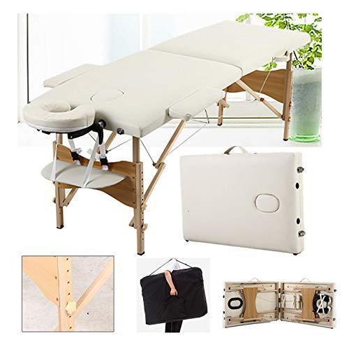 Mobile Massageliege Massagetisch Klappbar Massagebett Massagebank mit 2 Zonen höhenverstellbaren HolzFüßen Kosmetik Bank (bis 230kg belastbar) - Beige