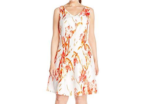 Tiana B Women's Plus-Size Sleeveless V-Neck Floral Print Woven Dress, Orange/White