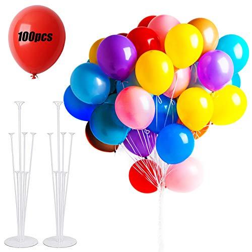 MEIXI 100 Luftballons Bunt und 2 Ballon Stick Halter, Ballons Latex Helium, Kinder Luftballons Geburtstag, Partyballon, Tischdeko Geburtstag, Bunte Ballons, Party Deko, Hochzeitsfeiern