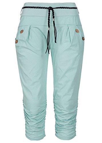 Styleboom Fashion® Damen Short Capri Hose Bindegürtel 2 Taschen deko Knöpfe Mint grün, Gr:S