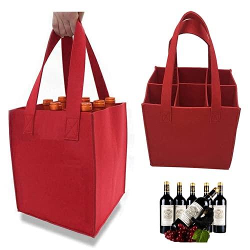 Suneech Bolsa para botella de vino, 2 bolsas de vino, bolsa de transporte de botellas de vino, cesta de fieltro con divisor flexible, 6 botellas, separadores extraíbles de 18 x 16 x 25 cm