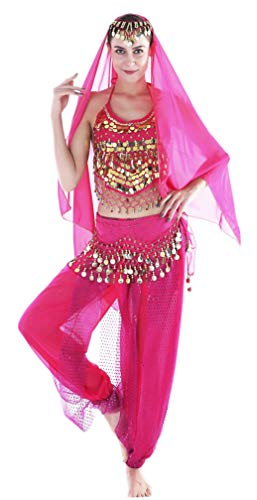 Seawhisper Damen Faschings-Kostüm Indische Bauchtanzkostüme Hose Oberteil Hüfttuch Chiffon Gelbrot