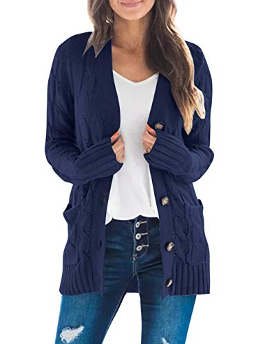 MEROKEETY Women's Long Sleeve Cable Knit Sweater Open Front Cardigan Button Loose Outerwear Navy