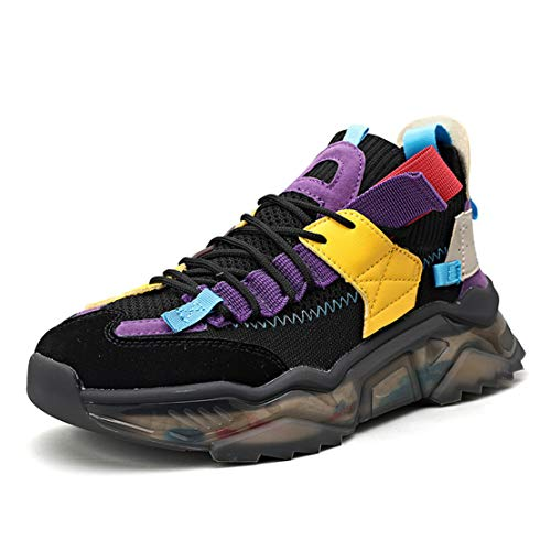 ADFD Zapatos para Correr con Plataforma de Moda para Hombres Calzado Deportivo Casual Diseño Superior de Punto Adecuado para Todo Tipo de Deportes y Uso Diario,C,40