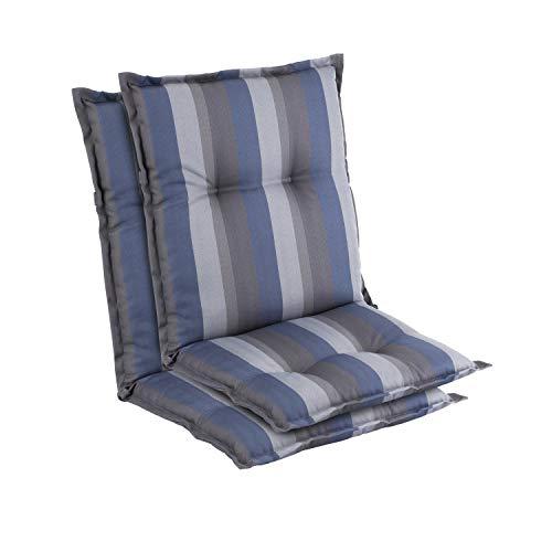 Homeoutfit24 Prato - Cojín Acolchado para sillas de jardín, Hecho en Europa, Respaldo bajo, Resistente a los Rayos UV, Poliéster, Relleno de Espuma, 103 x 52 x 8 cm, 2 Unidades, Azúl/Gris
