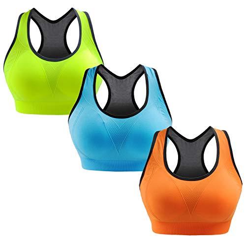 Libella Pacchetto di 3 Donne Reggisegno Push Up Bustier Sostegno Forte Imbottito Senza Cinturino Fitness Top di Sport 3765 Verde+Azzurro+Arancione S/M