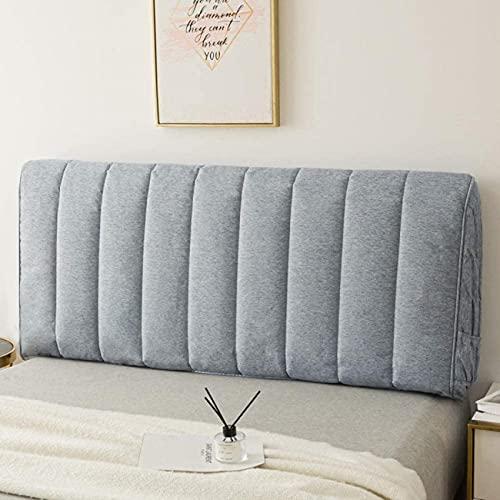 Patchwork Funda para cabecera de cama, protector de cabeza de cama, con lado elástico y bolsillo, funda de algodón a prueba de polvo para cabecera doble queen, tamaño king