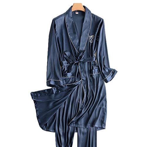 男子100%シルクパジャマは、春と秋の薄いセクションの部屋着長袖サービスPJボトムス日本のバスローブローブを設定します。 (Color : Blue, Size : XL)