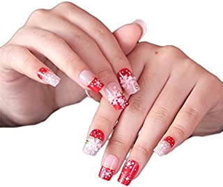 JINDIN 24 sheet Christmas Fake Nails Full Cover Design Acrylic White Snowflake Star Nail Art Tips for Women Holiday Fingernail Decors
