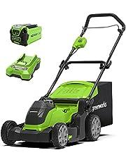 Greenworks Tools accu-aangedreven grasmaaier G40LM41K2 (Li-Ion 40V 41cm maaibreedte tot 250m² maaibreedte 2in1 mulching & maaien 50L grasopvangzak 6-voudige maaihoogteverstelling met 2Ah accu & lader)