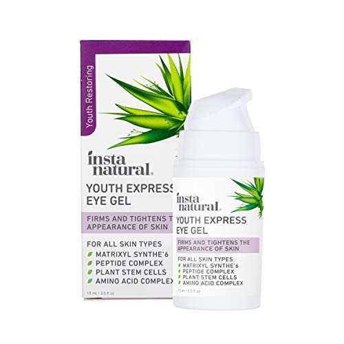 InstaNatural Eye Gel Cream - Wrinkle, Dark Circle, Fine Line & Redness Reducer - Pure & Organic Anti Aging Blend for Men & Women with Hyaluronic Acid - Fight Bags & Lift Skin – 15 ml Travel Size
