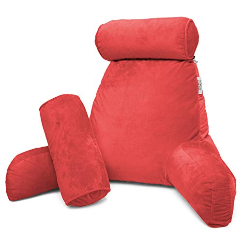Nestl Reading Pillow, Includes 1 Extra Large Bed Rest Pillow with Arms + 2 Detachable Pillows - Premium Shredded Memory Foam TV Pillow, Neck Roll & Lumbar Support Pillow - Set of 3 - Burgundy Red