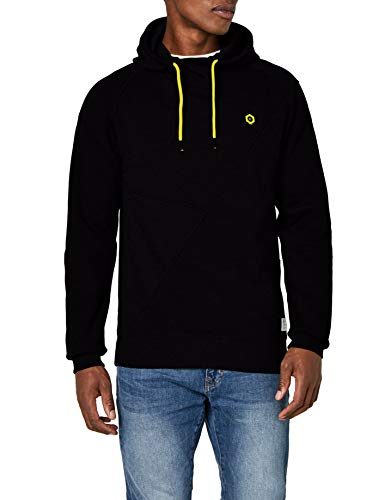 JACK & JONES Herren JCOPINN Sweat Hood NOOS Kapuzenpullover, Schwarz (Black Fit:Reg/Yellow String), X-Large