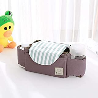 Baby Products Baby Stroller Accessories Bag Bottle Bag Stroller Organizer Baby Carriage Cup Bag(Mint Stripes) Baby Product...