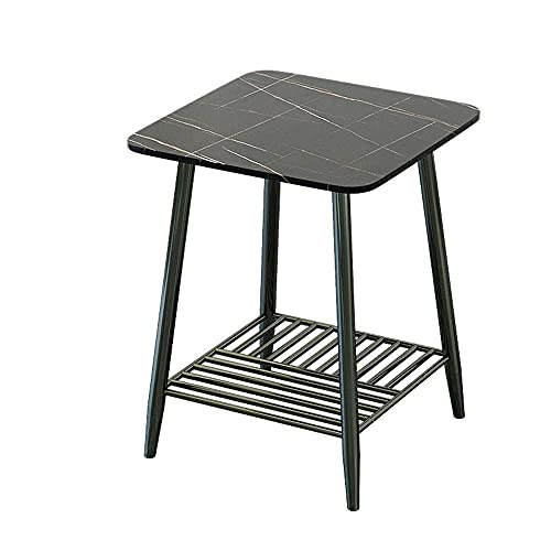 N\C Table 2 Tier Side Table Rock End Table with Metal Frame, Sofa Table Couch Table for Living Room Bedroom for Living Room Bedroom