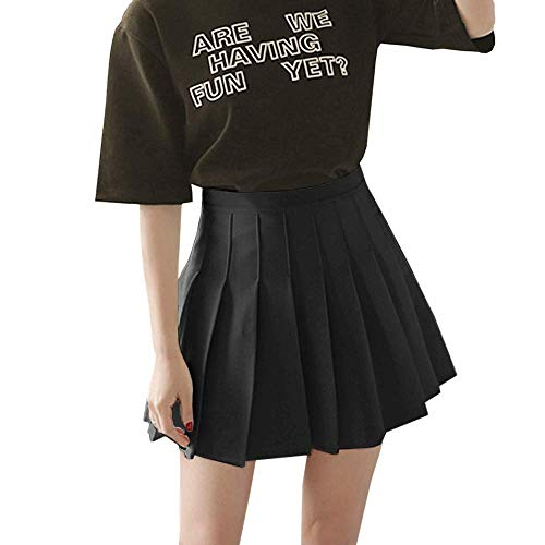 Easisim Women's Girls Pleated Skirt High Waist Japan School Uniform A-Line Skirts with Lining (Black, Large)