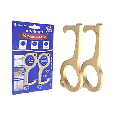 2pcs Hands Free Door Opener Tool, Brass Protector Clean Key with Hygiene Hand Utility Hook, No Touch Multitool Keychain for Infected Surfaces, Touchscreens, Handles, Buttons.