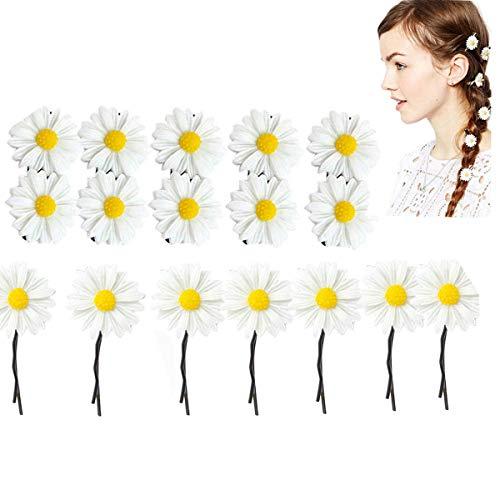 Dancepandas Daisy Haarschmuck 40PCS Gänseblümchen Haarspange Weiß klein Blumen Haarspange Boho Hochzeit Brauthaarschmuck Blumen für Mädchen Kinder Baby Dame